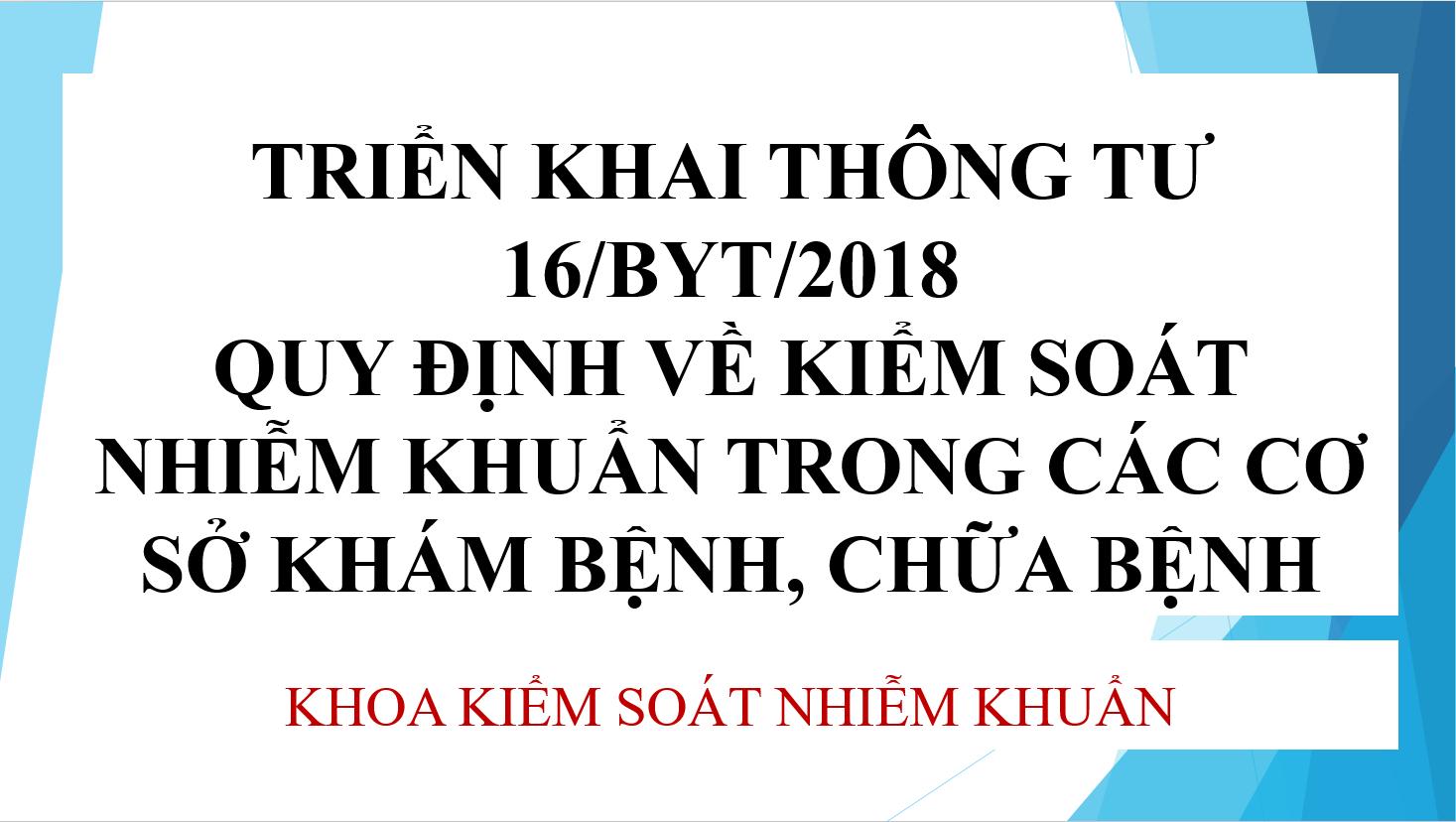 Triển khai thông tư 16/BYT/2018 tại bệnh viện đa khoa Hòa Bình