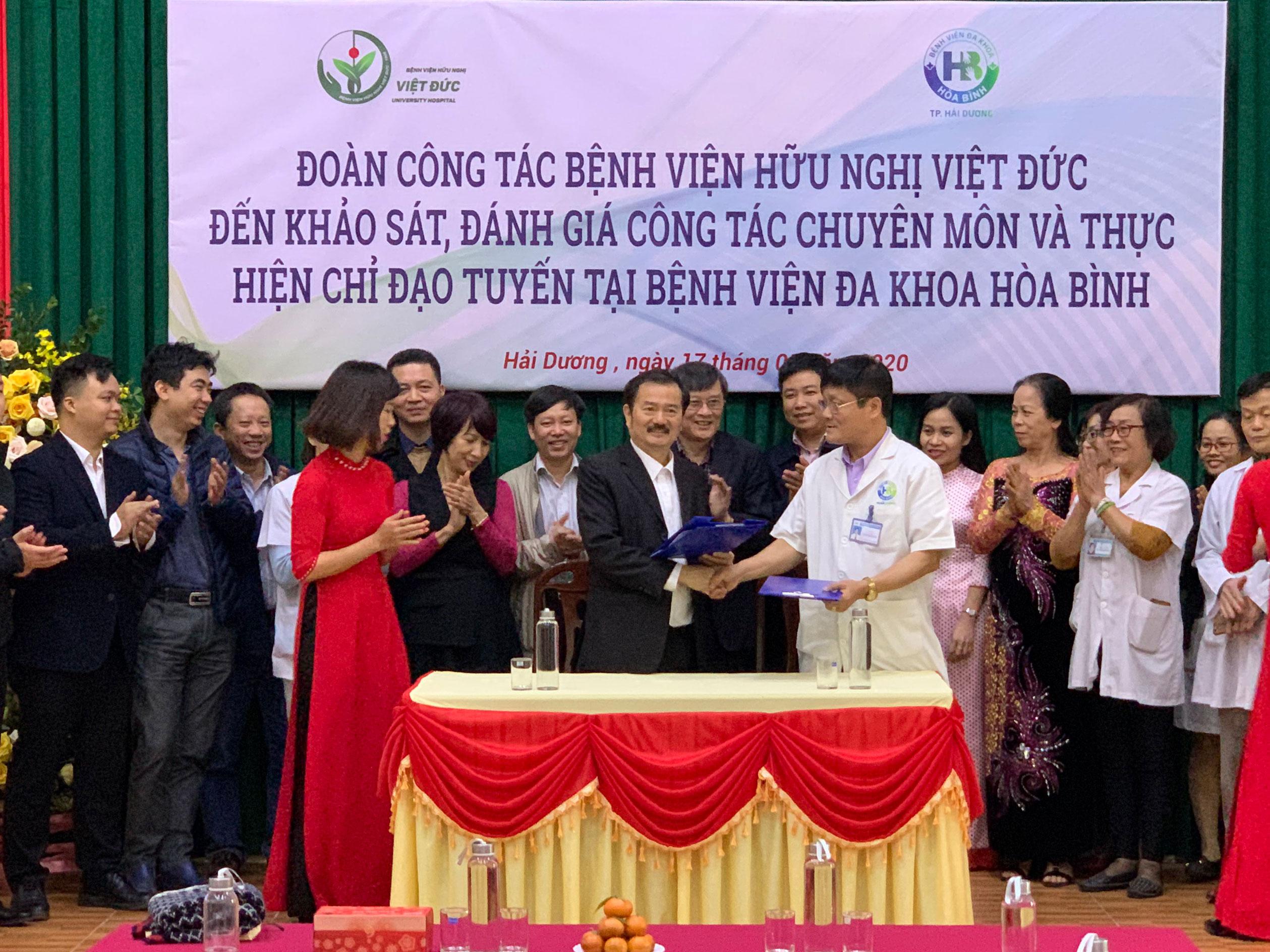 Đoàn công tác Bệnh viện Hữu Nghị Việt Đức thực hiện chỉ đạo tuyến tại Bệnh viện đa khoa Hòa Bình - TP.Hải Dương