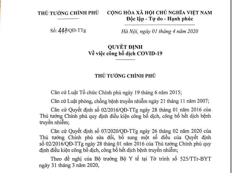 Quyết định công bố dịch Covid-19